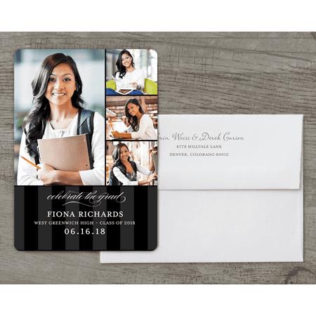 Black And White Halloween Invitations (Personalized Graduation Invitation - Classic Stripe - 5 x 7 Flat)