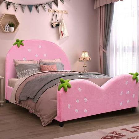 Costway Kids Children Upholstered Platform Toddler Bed Bedroom Furniture Berry Pattern ()