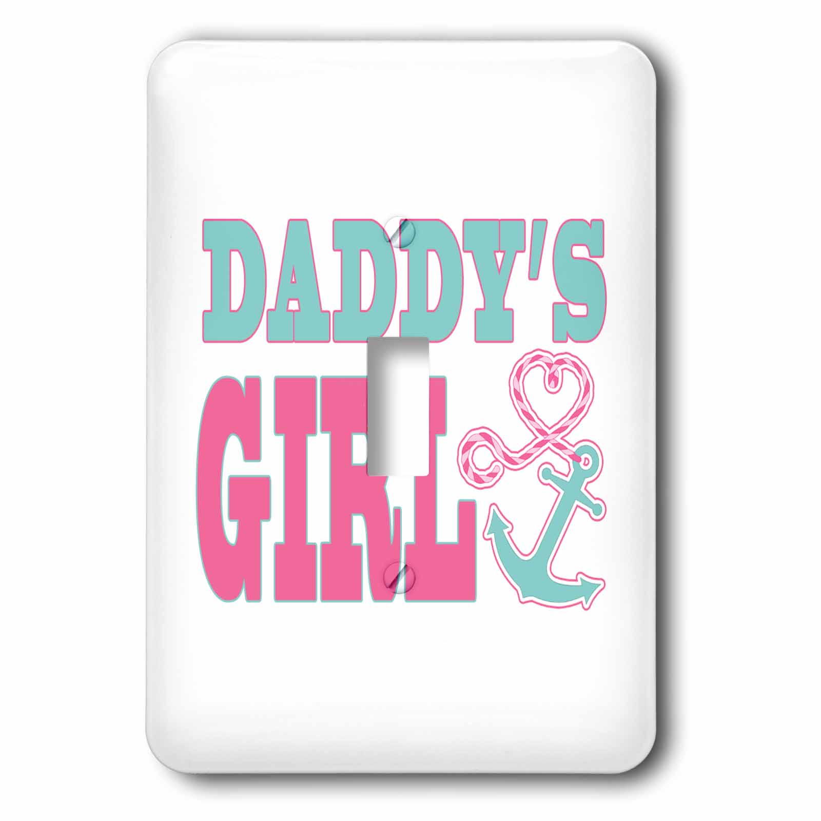 3dRose Daddys Girl Cute Anchor and Heart Rope Pink and Aqua, Double Toggle Switch