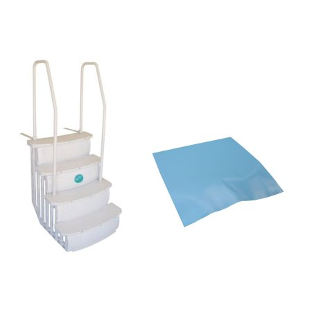 Main Access iStep Above Ground Swimming Pool Deck Entry Steps Ladder w/ Mat Pad ()