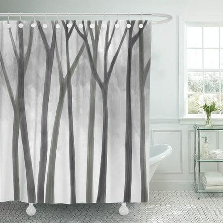 KSADK Drawing of Jungle Tree Trunks Idea Quiet Mystery Forest Night Environment Design Shower Curtain 66x72 inch - Jungle Ideas