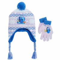 Disney Finding Dory Girls Purple Nemo Fish Trapper Hat & Gloves Cold Weather Set