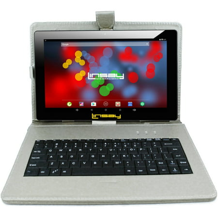 "LINSAY 10.1"" Tablet 2 GB RAM 16 GB Android 9.0 1280 x 800 IPS with Silver Leather Keyboard Case"