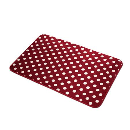 Polka Dots Microfiber Rug, Soft Plush Lightweight Decorative Bathroom Mat, Non-Slip Backing, 20
