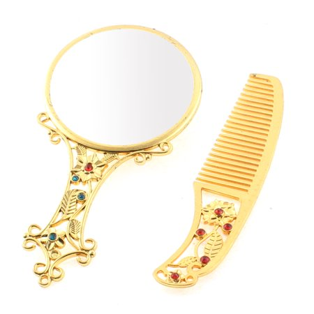 Flower Pattern Handbag Compact Cosmetic Makeup Mirror Comb Gift Set Gold Tone - image 3 of 3