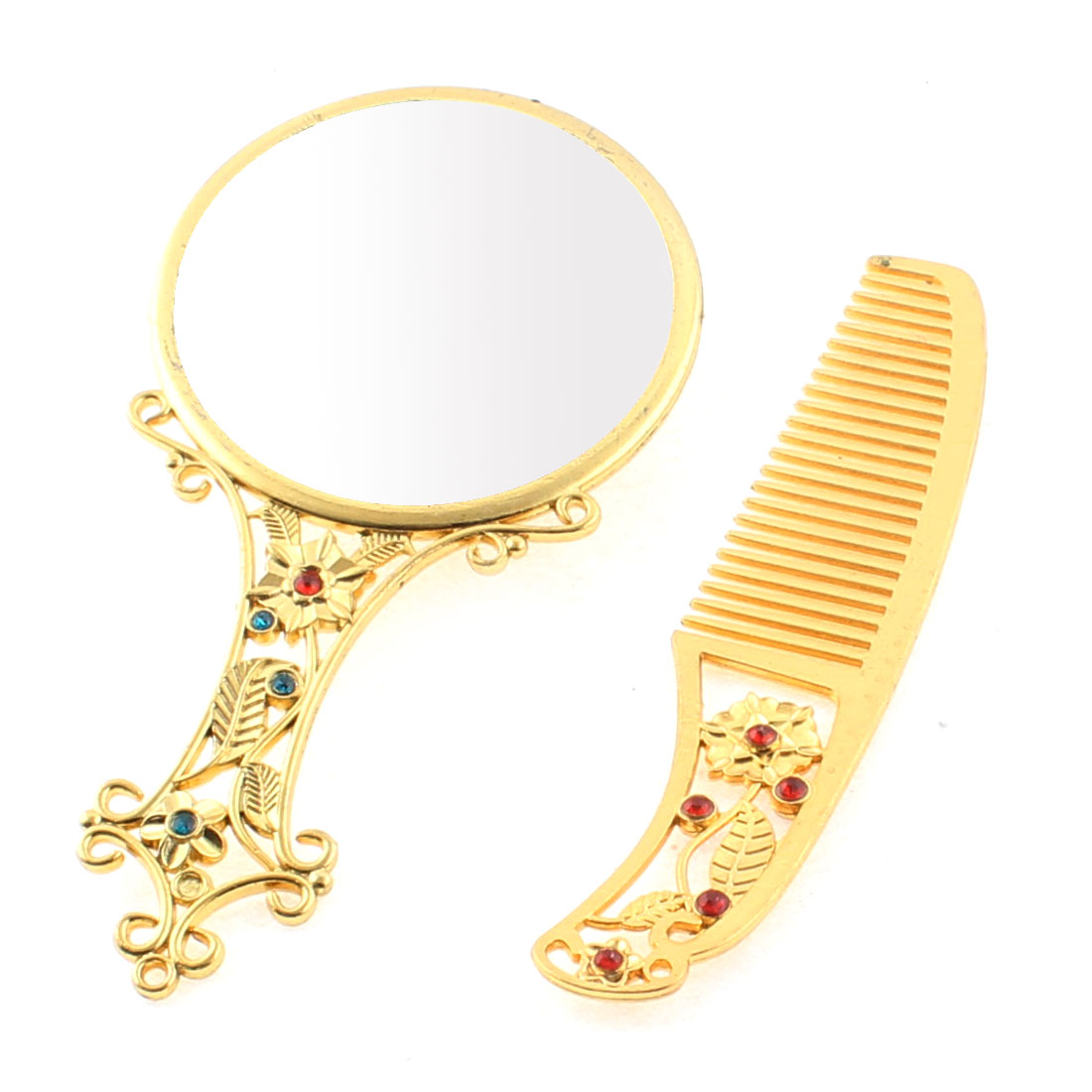 Flower Pattern Handbag Compact Cosmetic Makeup Mirror Comb Gift Set Gold Tone