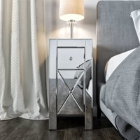 Jaxpety Set of 2 Mirrored Nightstand 2 Drawer Crystal Accent Silver Side Table Glass Bedside Table Furniture for Bedroom, Living Room