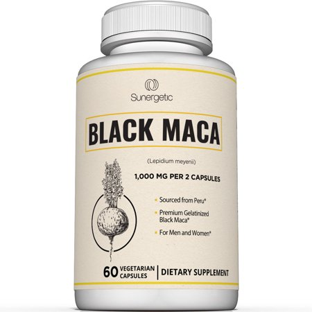 Premium Black Maca Capsules – 1,000mg of Black Maca Root per Serving – Gelatinized Black Maca Powder from Peru – Powerful Black Maca Supplement - 60 Vegetarian Capsules 60 Peruvian Finish