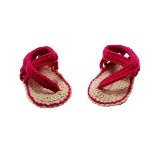 Baby Girls Hot Pink Tan Crochet Sandals 0-12M