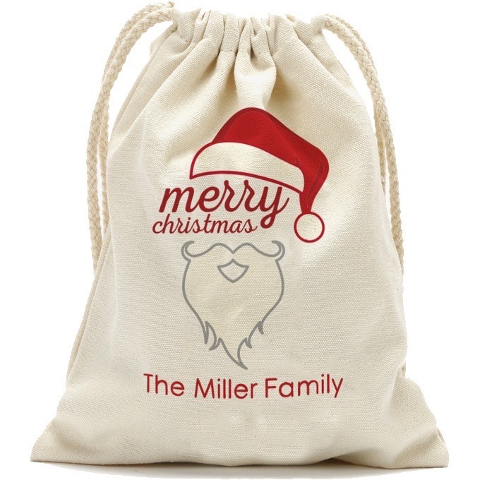 """Merry Christmas Personalized Drawstring Sack Small, 13.3"""" x 18.75"""" or Large: 19"""" x 27.75"""""""