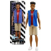 mattel year 2016 barbie ken fashionistas 12 inch doll - steven (dwk46) in hip hoodie blue jacket, red t-shirt and light brown shorts
