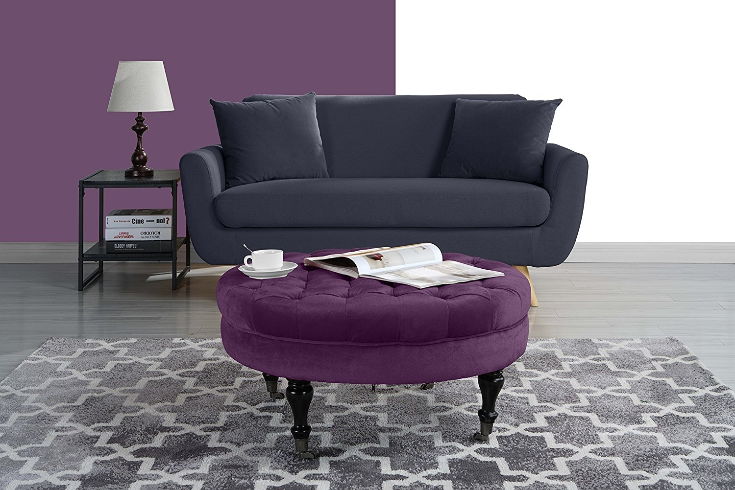 Round Tufted Velvet Coffee Table With Casters, Ottoman With Wheels (Purple)    Walmart.com