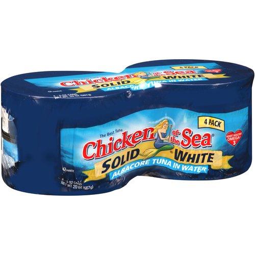Chicken of the Sea Solid White Albacore Tuna in Water, 5 oz, 4 count