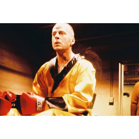 Bruce Willis in Boxing Outfit Sitting on Table Pulp Fiction 24x36 Poster
