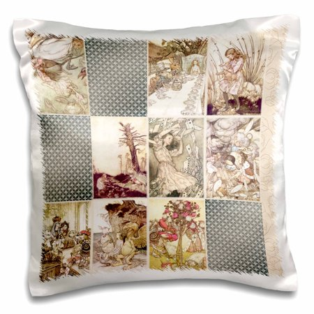 3dRose Vintage Alice in Wonderland Art Collage - Pillow Case, 16 by 16-inch - Alice In Wonderland Decor