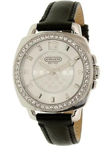 Coach Women's Mini Boyfriend 14501789 Silver Leather Quartz Watch