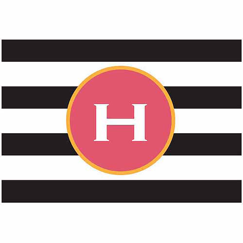 Personalized Black and White Stripes Doormat