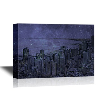 Party City In Illinois (wall26 Canvas Wall Art - Chicago, Illinois in the United States. City Skyline with Skyscrapers. - Gallery Wrap Modern Home Decor   Ready to Hang - 12x18)