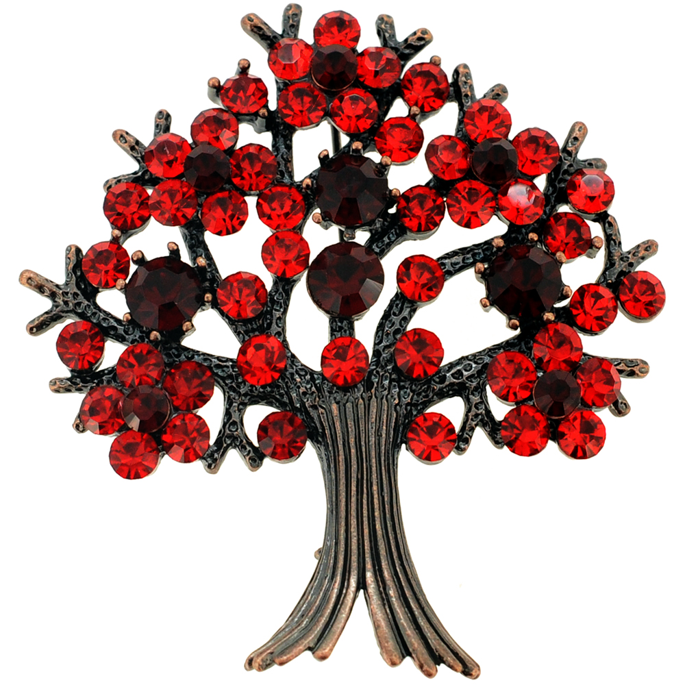 Red Tree-in-Full-Bloom Crystal Pin Brooch by