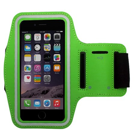 low priced 55113 3801f Green Water Resistant Cell Phone Armband Running Sports Case for Apple  iPhone X, 8, 7, 6S, 6, SE, 5S, 5C, 5 - Adjustable Velcro, Reflective, with  ...