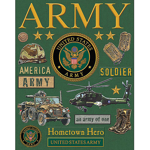 K&Company Military Deluxe Foil Embossed Stickers, Army
