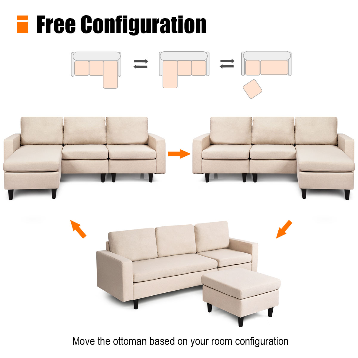 Costway Convertible Sectional Sofa Couch Fabric L Shaped Couch Massage Cushion Beige Walmart Com Walmart Com
