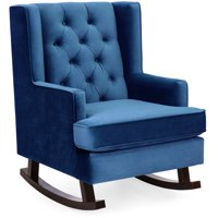 Best Choice Products Tufted Upholstered Wingback Accent Chair Rocker w/ Wood Frame, Royal Blue
