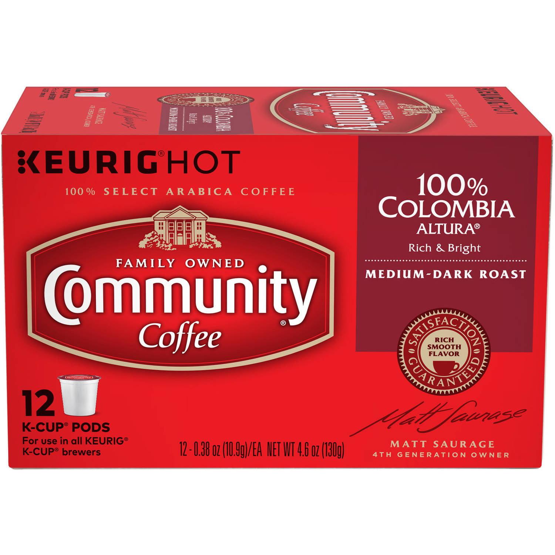 Community Coffee Colombia Classico Blend Medium-Dark Roast Coffee Single Serve Cups, 12 ct, 4.65 oz