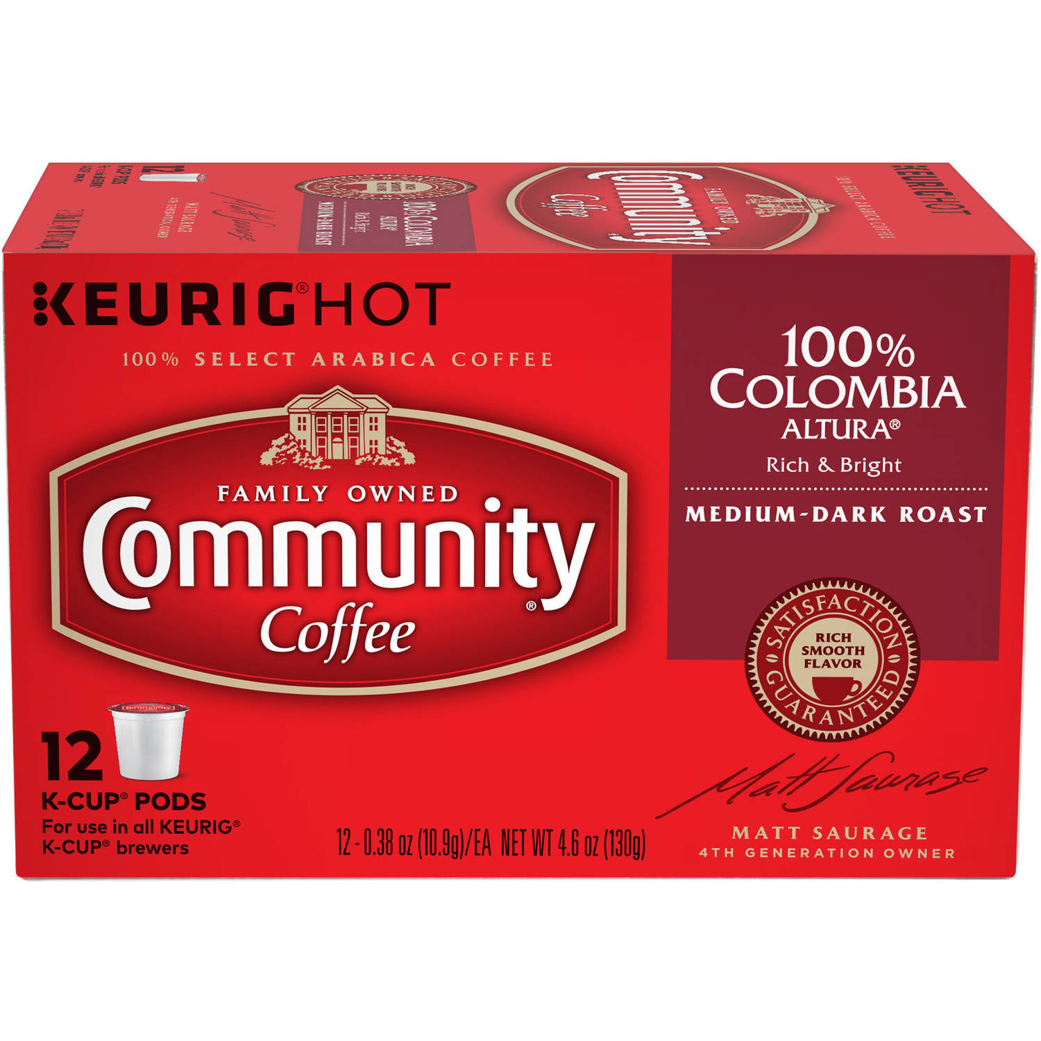 Community Coffee Colombia Classico Blend Medium-Dark Roast Coffee Single Serve Cups, 12 ct, 4.65 oz