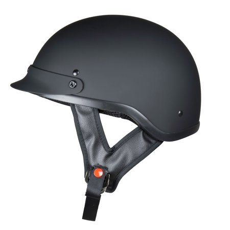 Lunatic Adult Shorty Helmet Motorcycle Half Helmet - DOT - Gloss or Flat Black (Motorcycle Helmet Flat Black)