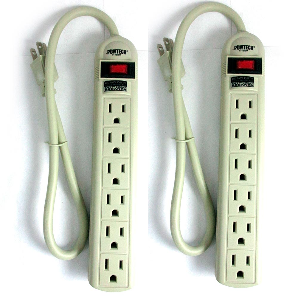 2Pc Power Strip 6 Plug Outlet Extension Cord Surge Protection 1.5ft 90 Joules UL