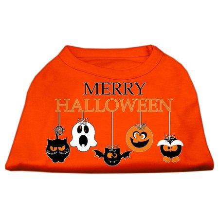 Merry Halloween Screen Print Dog Shirt Orange XL (16) - Merry Halloween