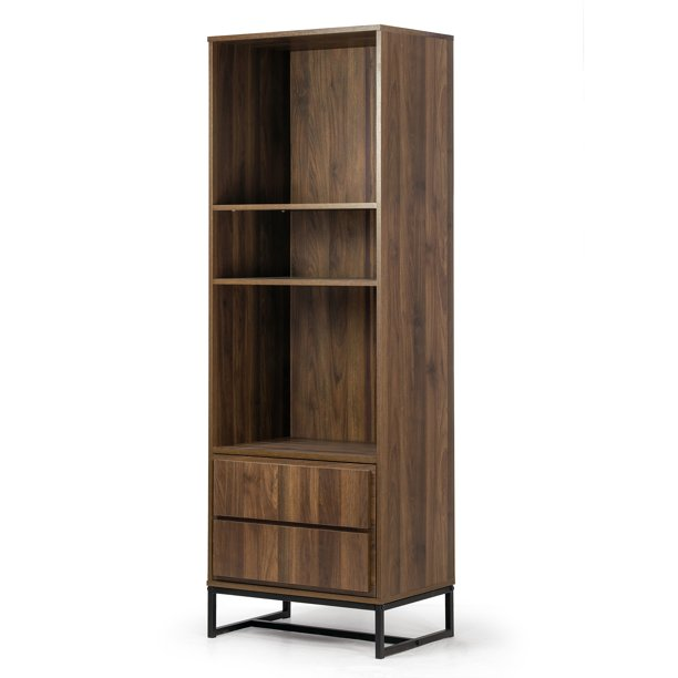 Arya Bookcase Display Shelf Media Tower with Cabinet