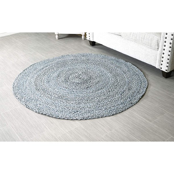 5 Ft Grey Round Area Rug For Living, 5 Round Rugs