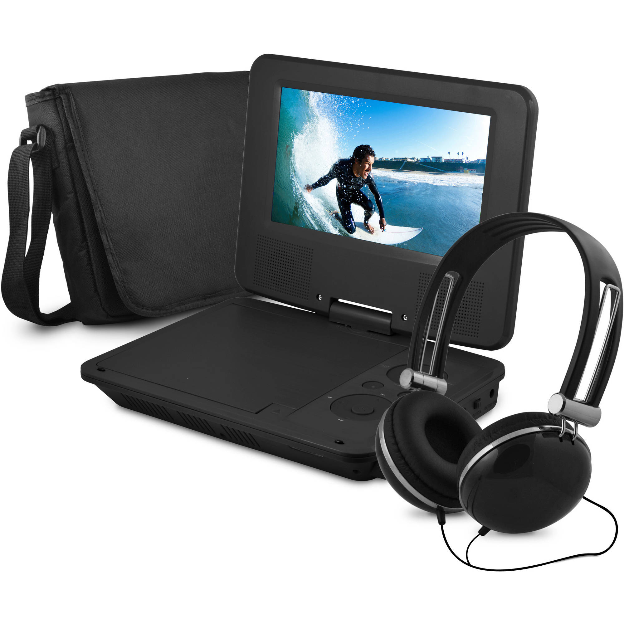 "Onn 7"" Portable Dvd Player With Matching Headphones And Bag"
