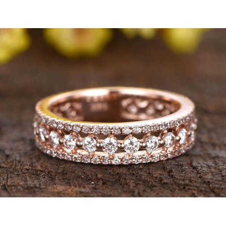 0.75 Carat Full eternity diamond wedding band Three row diamond engagement ring Stacking wedding band with 18k Gold Plating 3 Row Band Ring