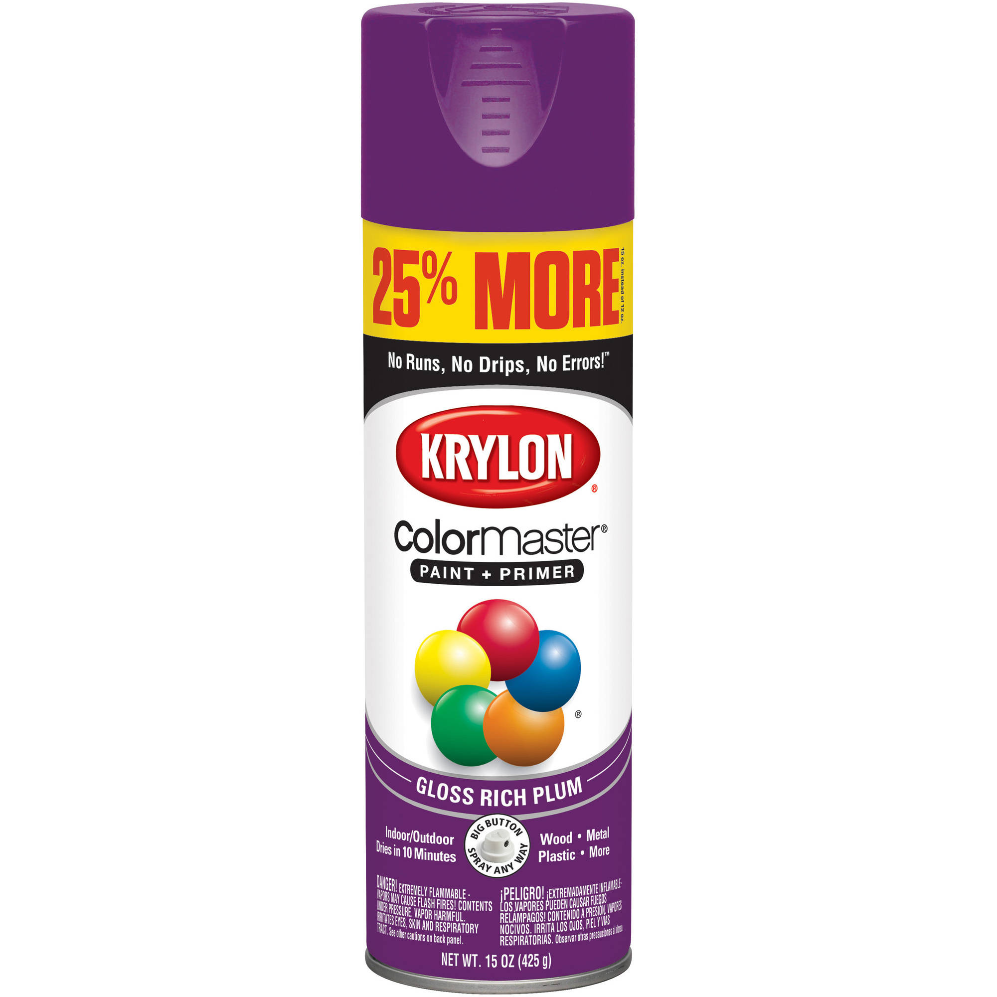 Krylon ColorMaster Paint & Primer Gloss Rich Plum, 15 oz