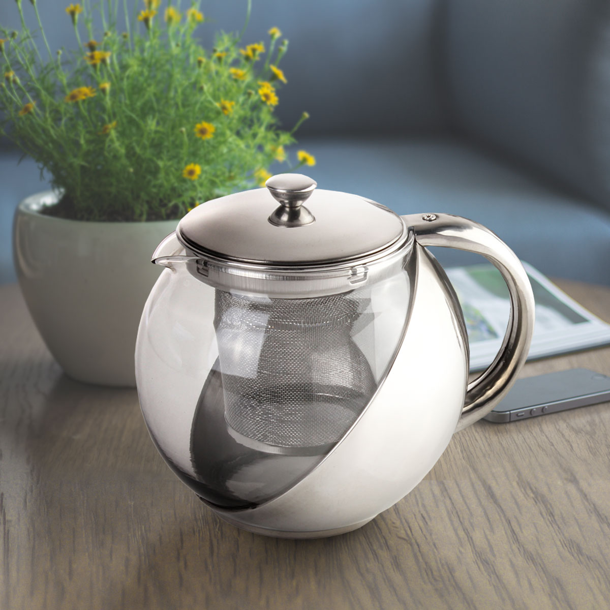 1Pcs Stainless Steel Glass TeaPot with Tea Leaf Strainer Filter Infuser Silver 900ML,Silver