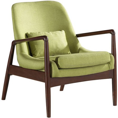 Magnificent Baxton Studio Carter Mid Century Modern Retro Green Fabric Upholstered Leisure Accent Chair In Walnut Wood Frame Pabps2019 Chair Design Images Pabps2019Com