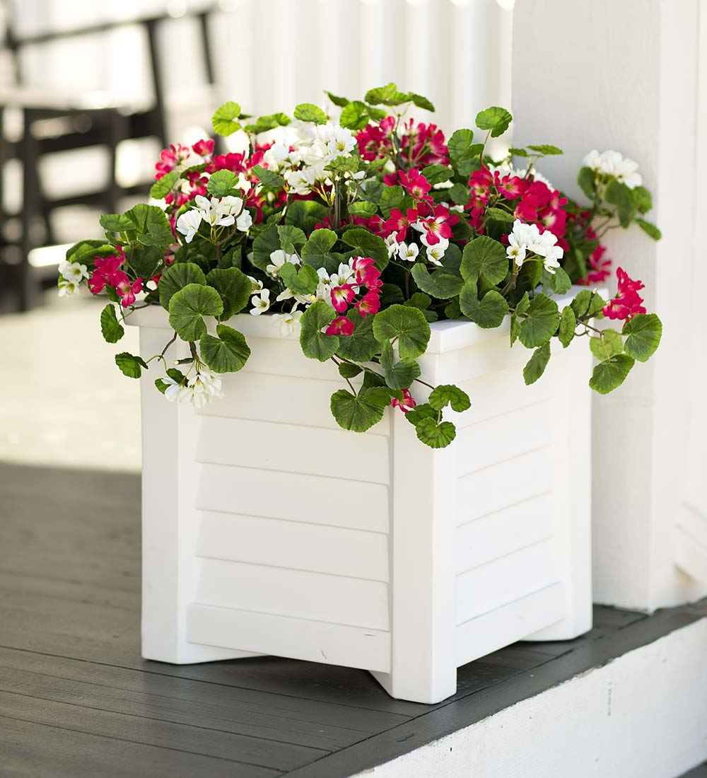 Lighted Geranium Urn and Planter Filler with LED Lights and Timer by Plow & Hearth