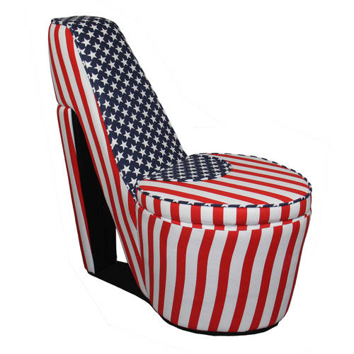 Patriotic Red, White and Blue High Heel Storage Chair, Multiple Colors