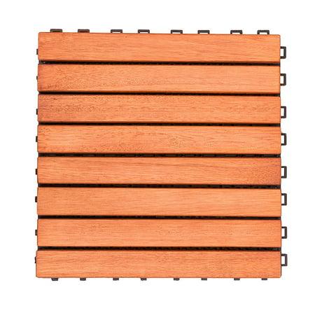 Eucalyptus Deck (Outdoor Patio 8-Slat Eucalyptus Interlocking Deck Tile (Set of 10 Tiles))
