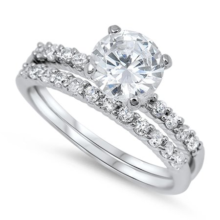 White CZ Round Solitaire Promise Ring ( Sizes 5 6 7 8 9 10 ) Set .925 Sterling Silver Band Rings (Size 7) (Cable Ring Size 6)