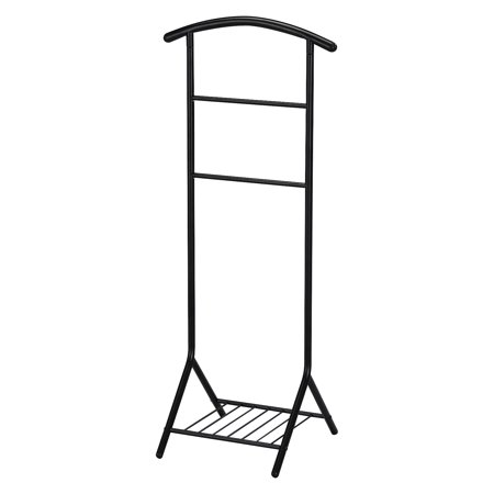 Fairyn Black Metal Traditional Cloth, Coat, Suit & Hat Valet Stand Organizer Rack With Storage Shelf ()