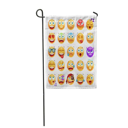 LADDKE Yellow of Cute Emoticons on Funny Expression Angel Garden Flag Decorative Flag House Banner 12x18 inch