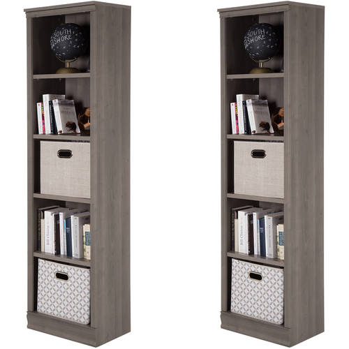 South Shore Morgan 5-Shelf Narrow Bookcase Set of 2, Multiple Finishes