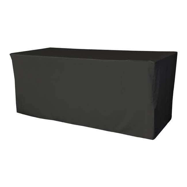 LA Linen TCpop-fit-96x48x30-BlackP24 4.3 lbs Polyester Poplin Fitted Tablecloth, Black - image 1 de 1