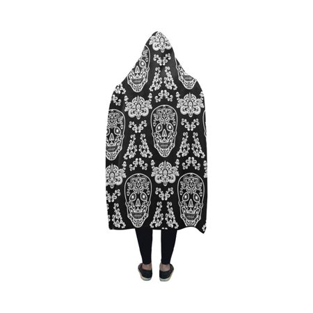 HATIART Day of The Dead Hooded Blanket Fashion Pilling Polar Fleece Wearable Blanket Throw Blanket 40x50 Inches - image 1 of 2