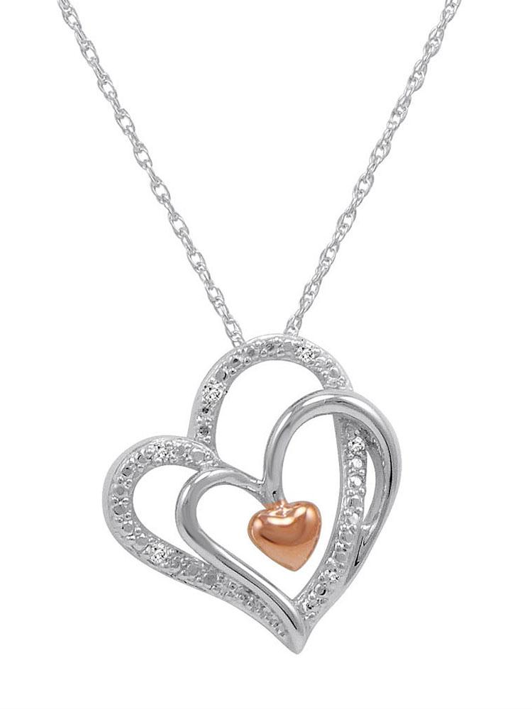 Amanda Rose Triple Heart in Heart Diamond Pendant in .925 Sterling Silver
