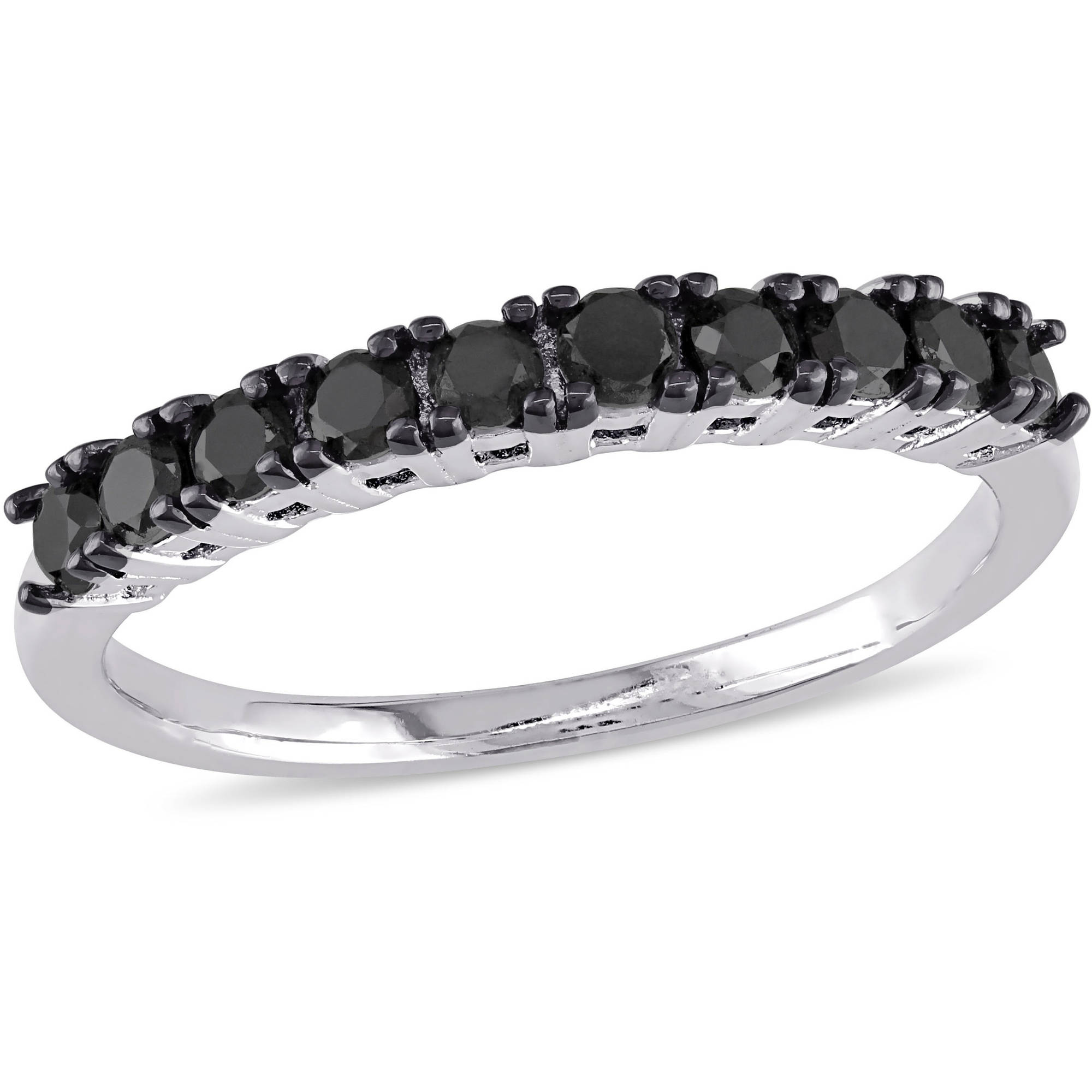 1/2 Carat T.W. Black and White Diamond Eternity Ring in Sterling Silver